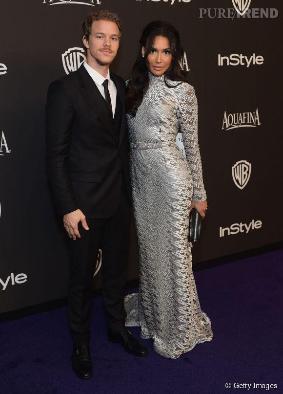 Naya Rivera en Christian Siriano et son époux Ryan Dorsey lors de l'after party WB InStyle Golden Globe au Hilton de Beverly Hills le 11 janvier 2015.