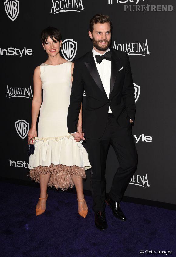 Amelia Warner et Jamie Dornan en Louis Vuitton lors de l'after party WB InStyle Golden Globe au Hilton de Beverly Hills le 11 janvier 2015.