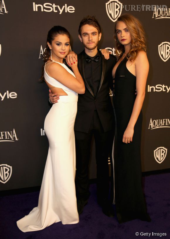 Selena Gomez en KaufmanFranco, pochette Lee Savage, chaussures Jilmmy Choo et bijoux Jennifer Meyer, DJ Zedd et Cara Delevingne en Mugler lors de l'after party WB InStyle Golden Globe au Hilton de Beverly Hills le 11 janvier 2015.