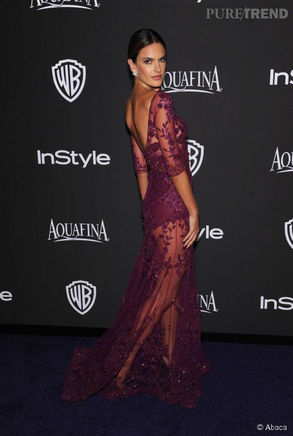 Alessandra Ambrosio en Zuhair Murad lors de l'after party WB InStyle Golden Globe au Hilton de Beverly Hills le 11 janvier 2015.