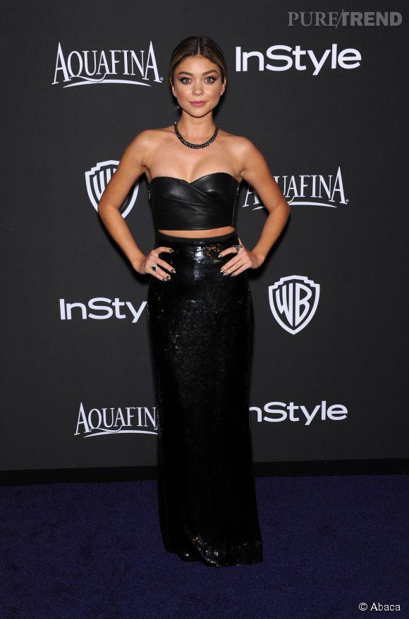 Sarah Hyland en Emilio Pucci lors de l'after party WB InStyle Golden Globe au Hilton de Beverly Hills le 11 janvier 2015.