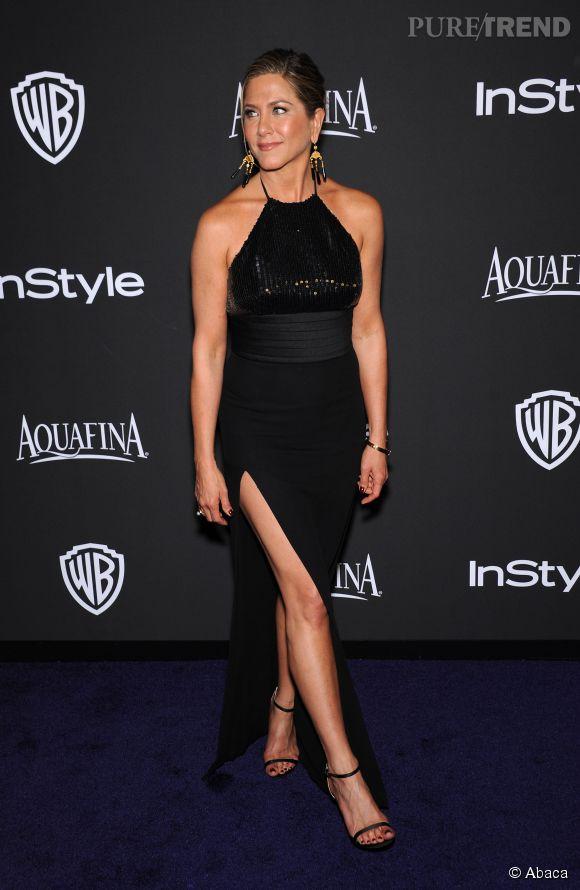 Jennifer Aniston en Saint Laurent et bijoux Neil Lane lors de l'after party WB InStyle Golden Globe au Hilton de Beverly Hills le 11 janvier 2015.