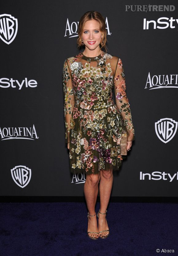 Brittany Snow en Valentino lors de l'after party WB InStyle Golden Globe au Hilton de Beverly Hills le 11 janvier 2015.