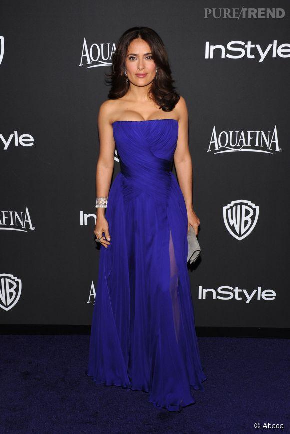 Salma Hayek en Gucci lors de l'after party WB InStyle Golden Globe au Hilton de Beverly Hills le 11 janvier 2015.