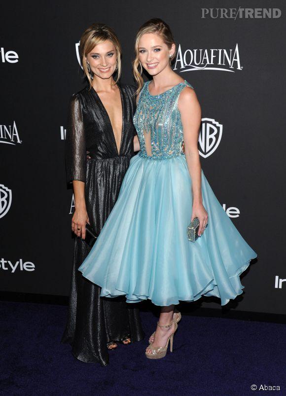 """Spencer et Greer Grammer lors de l'after party WB InStyle Golden Globe au Hilton de Beverly Hills le 11 janvier 2015. Greer Grammer porte les sandales """"Greta"""" de Jimmy Choo."""