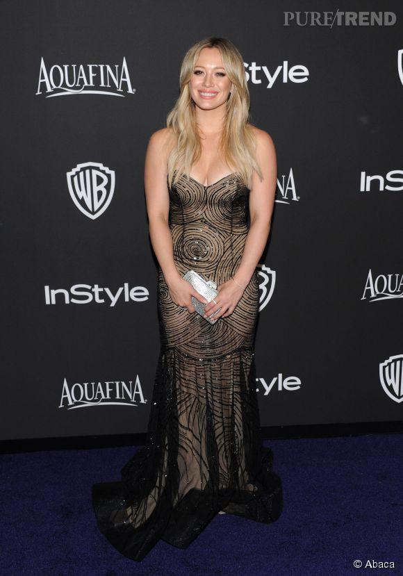 Hilary Duff en Rani Zakhem lors de l'after party WB InStyle Golden Globe au Hilton de Beverly Hills le 11 janvier 2015.