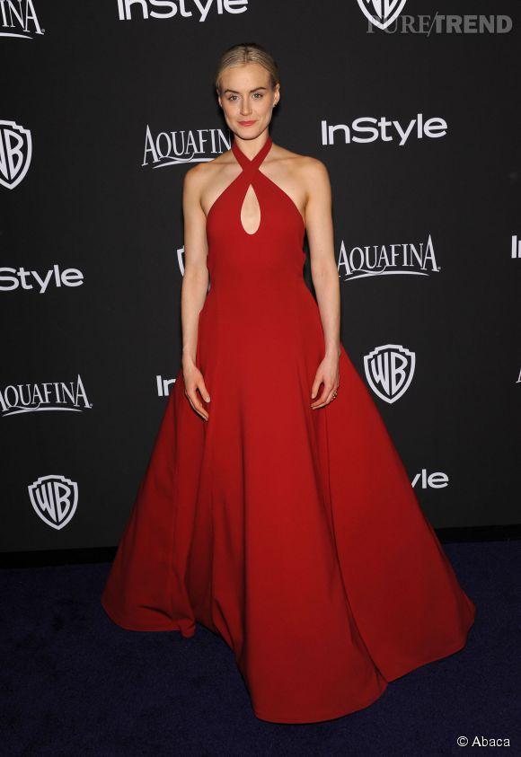 Taylor Schilling en Ralph Lauren Collection lors de l'after party WB InStyle Golden Globe au Hilton de Beverly Hills le 11 janvier 2015.
