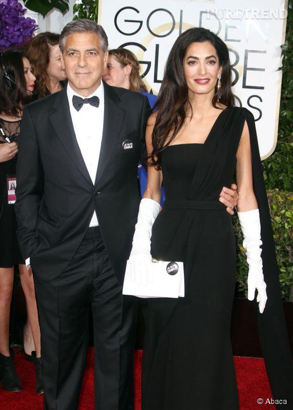 George Clooney et Amal Alamuddin lors de la 72ème cérémonie des Golden Globes, ce dimanche 11 janvier 2015.