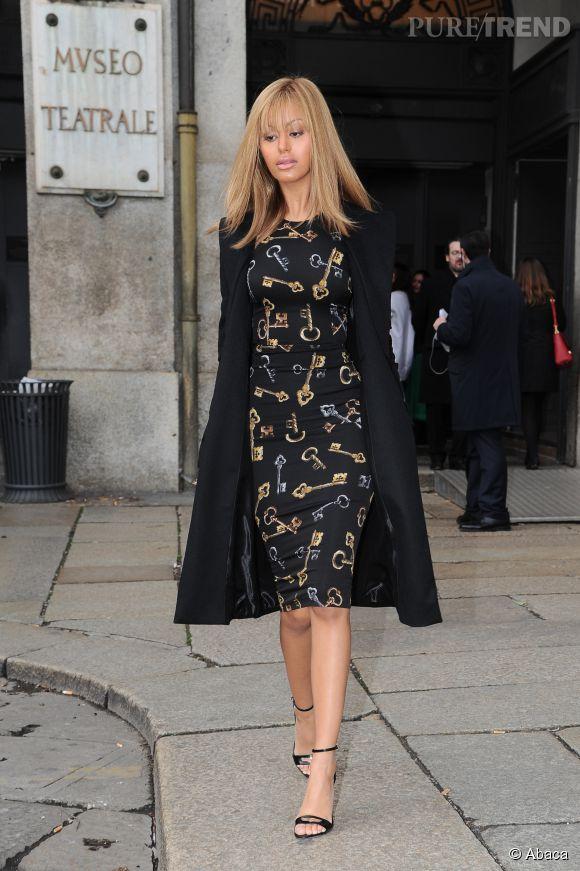 Zahia Dehar à Milan pour la présentation du défilé Couture Dolce & Gabbana Alta Moda le 30 janvier 2015.