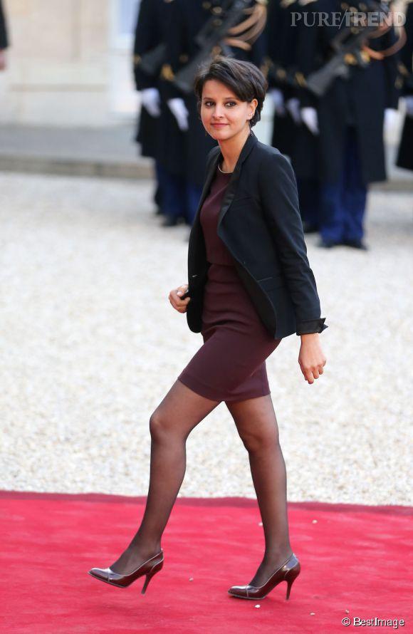 Najat Vallaud-Belkacem à son arrivée à l'Elysée pour un dîner donné en l'honneur du président tunisien le 7 avril 2015.