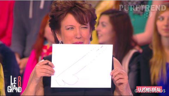 """Roselyne Bachelot dessine le """"pénis idéal"""" pour """"Le Grand 8""""."""
