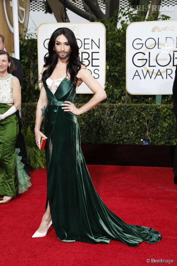 Conchita Wurst aux Golden Globes 2015. Une vraie diva.