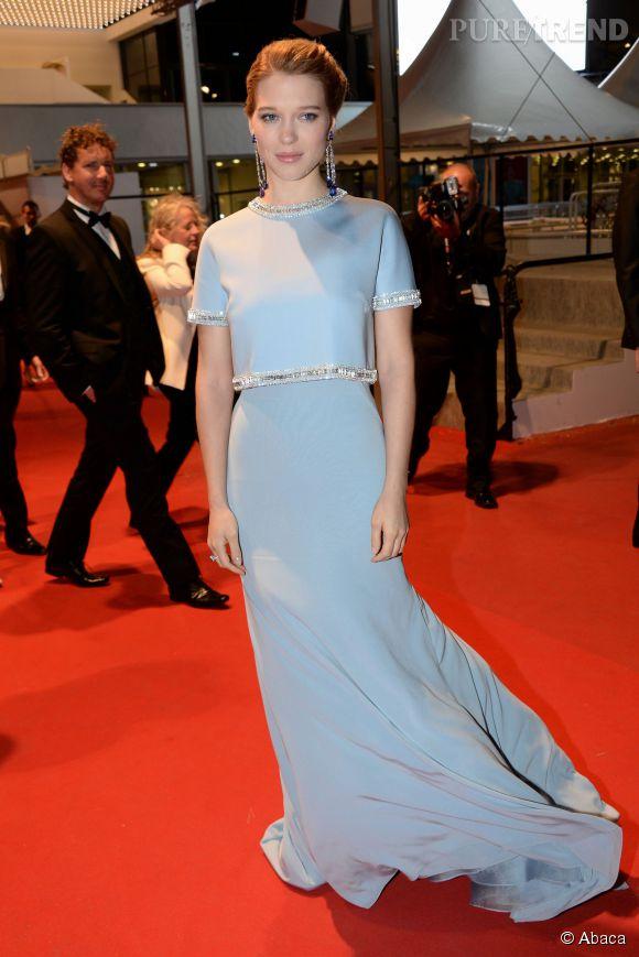 Léa Seydoux à Cannes dans une robe bleu Miu Miu, jeudi 15 mai 2015.