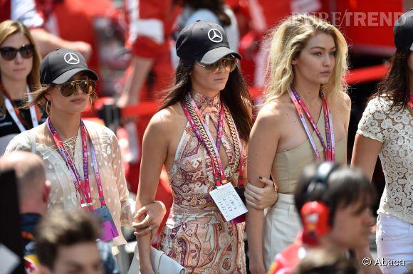 Hailey Baldwin, Kendall Jenner et Gigi Hadid au Grand Prix de Monaco le 24 mai 2015.