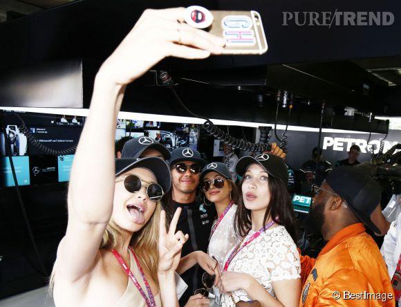 Gigi Hadid, Hailey Baldwin et Bella Hadid au Grand Prix de Monaco le 24 mai 2015.