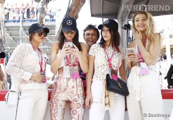 Hailey Baldwin, Kendall Jenner, Bella et Gigi Hadid au Grand Prix de Monaco le 24 mai 2015.