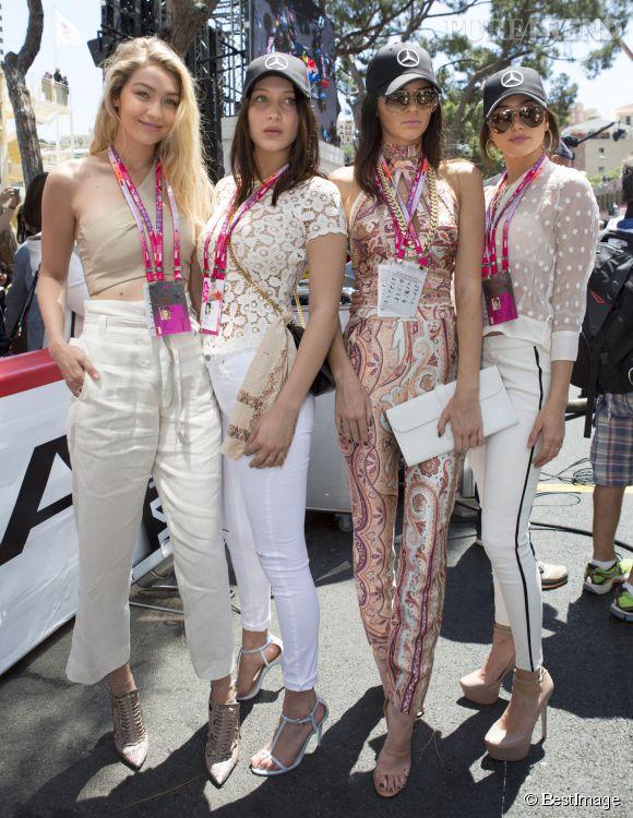 Gigi et Bella Hadid, Kendall Jenner et Hailey Baldwin au Grand Prix de Monaco le 24 mai 2015.