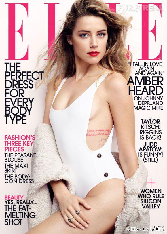 Amber Heard fait la couverture du mois de Juillet du ELLE US.