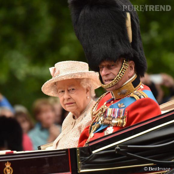 La reine Elisabeth II et son mari le duc d'Edimbourg pour la parade Trooping the Colour