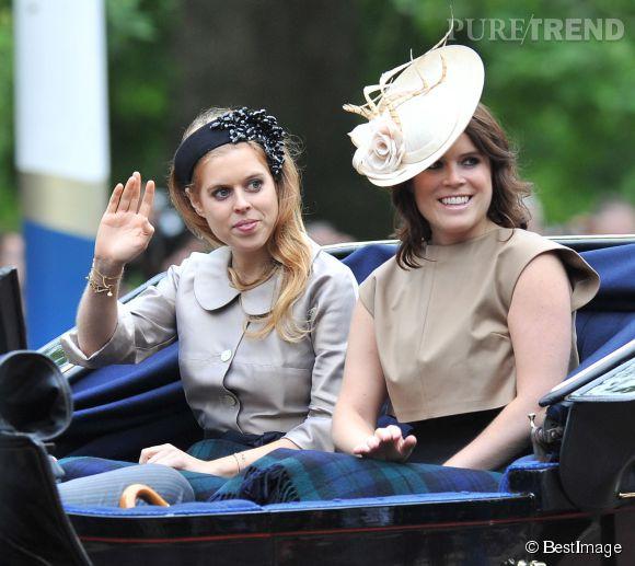 La princesse Béatrice et la princesse Eugénie pour la cérémonie Trooping the Colour à Londres le 13 juin 2015