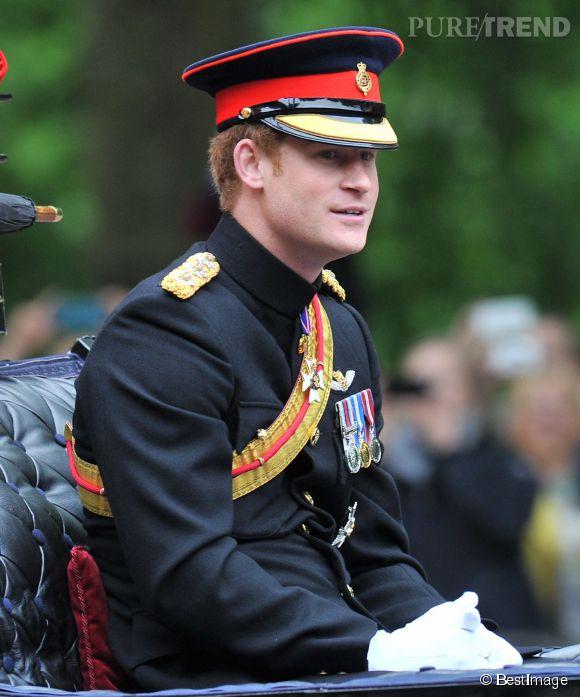 La prince Harry lors de la cérémonie Trooping the Colour