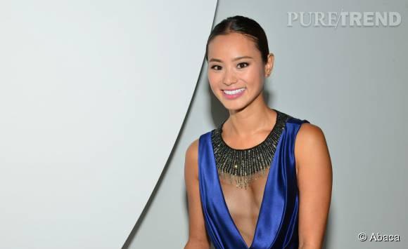 Jamie Chung super souriante pour le show de son amie Monique Lhuillier.