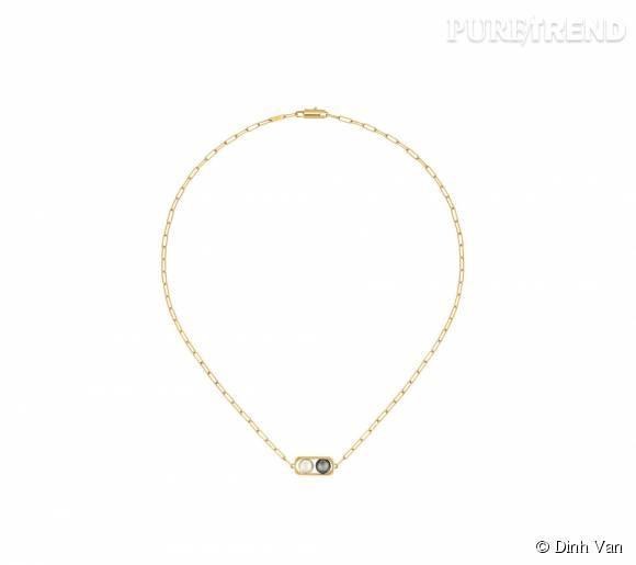 Collier dinh van en or jaune,perles d'eau douce et d'hématite.   1 290 euros.