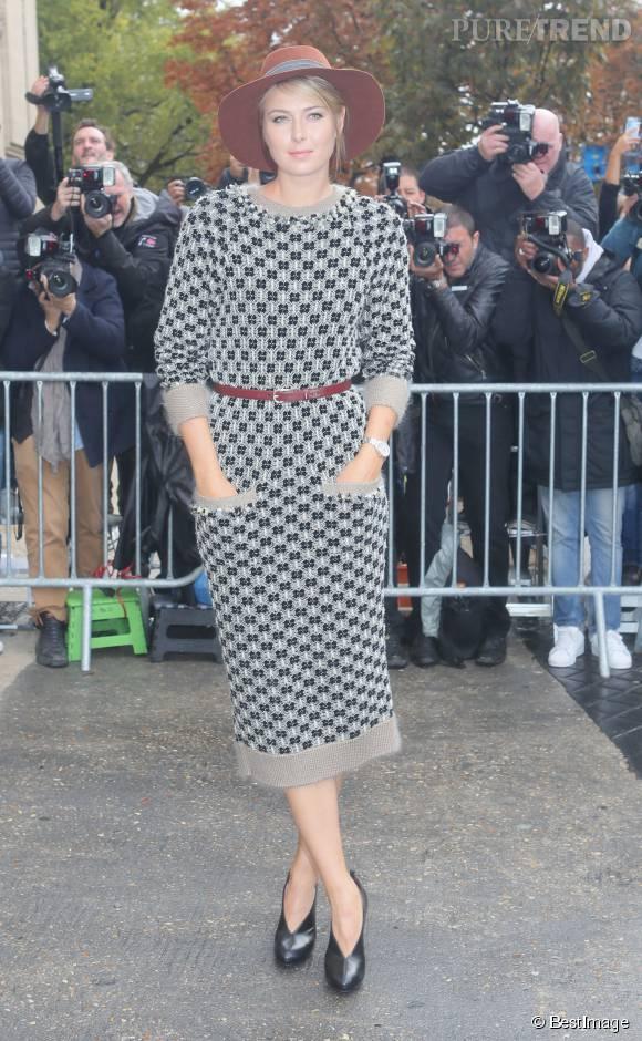 Maria Sharapova a elle opté pour la robe longue à impimé au défilé Chanel printemps-été 2016.