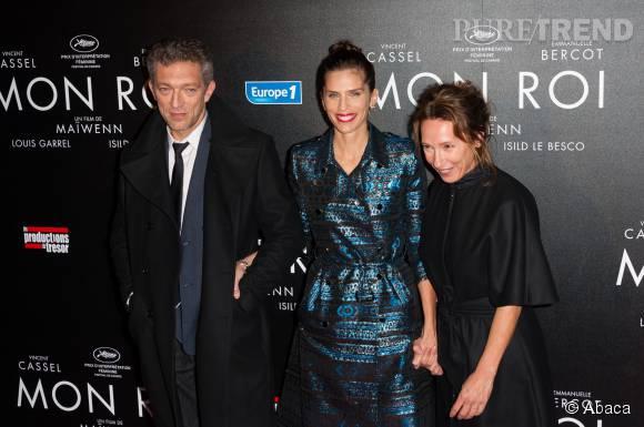 """Maïwenn, Vincent Cassel et Emmanuelle Bercot à la présentation de """"Mon Roi""""."""
