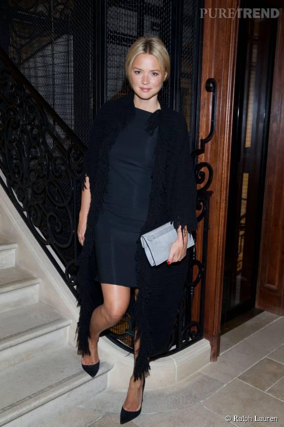 Virginie Efira au cocktail Ralph Lauren en l'honneur du photographe Jimmy Nelson à Paris le 14 octobre 2015.