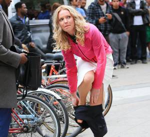 Katherine Heigl, en plein tournage à New York.