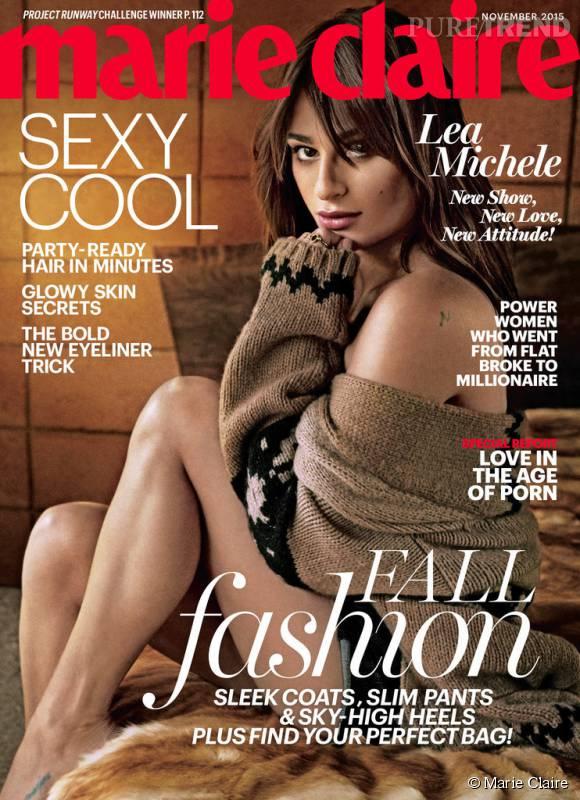 Lea Michele, très sensuelle pour le numéro de novembre 2015 de Marie Claire.