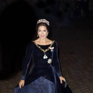 Mary de Danemark, lors du gala de Nouvel An donné au palais d'Amalienborg à Copenhague le 1er janvier 2016.