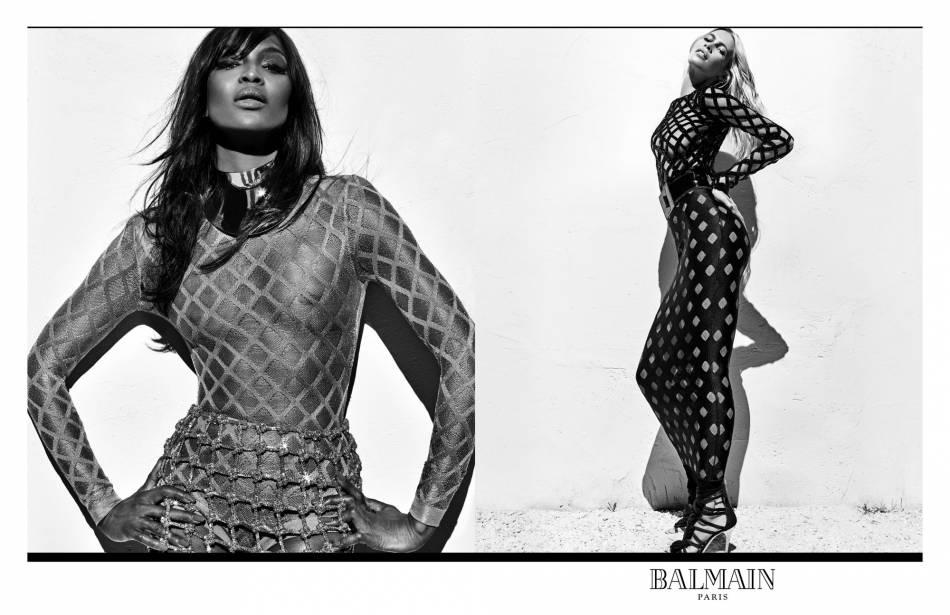 Naomi Campbell et Claudia Schiffer, égéries de la nouvelle campagne du Printemps-Été 2016 de Balmain.