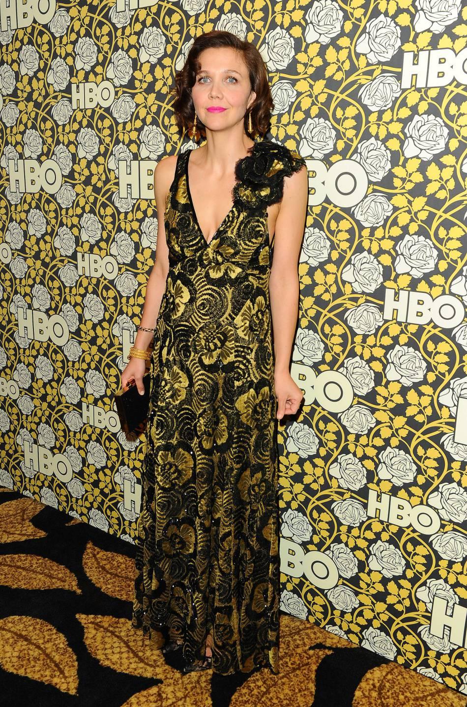 Maggie Gyllenhaal à la soirée de la chaîne  HBO , ce dimanche 10 janvier 2016.