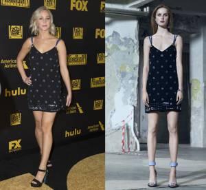 Jennifer Lawrence vs Podium : la mini robe sexy à perles de chez Versace