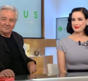 """Dita Von Teese a fait sensation lors de son passage sur le plateau de l'émission """"C à vous"""" sur France 5, ce jeudi 14 janvier 2016."""