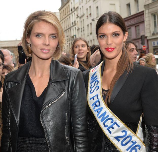 Sylvie Tellier et Iris Mittenaere arrivent au défilé Jean Paul Gaultier le 27 janvier 2016 à Paris.