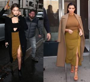 Gigi Hadid vs Kim Kardashian : la jupe fendue épingles à nourrice sexy A.L.C.