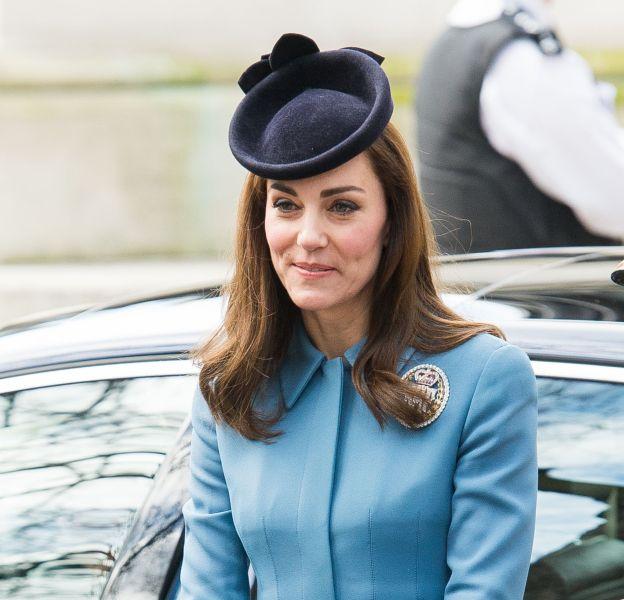 Kate Middleton lors de sa première apparition de l'année le 7 février 2016 à Londres.