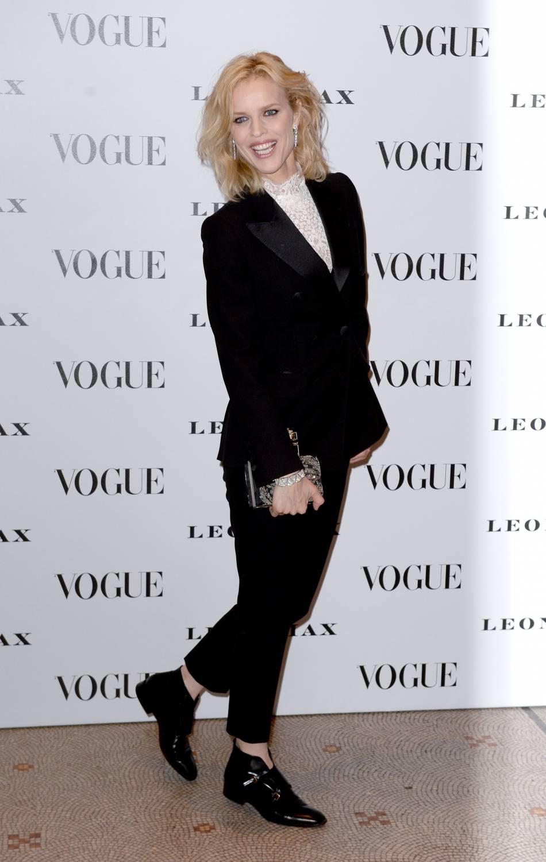 """Eva Herzigova au vernissage de l'exposition """"Vogue 100 : un siècle de style"""" à la National Portrait Gallery de Londres, ce mardi 9 février 2016."""