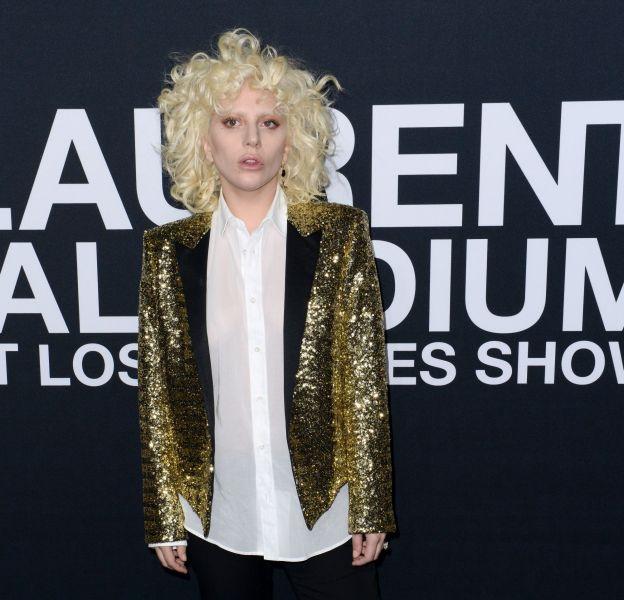 Lady Gaga au défilé Saint Laurent Paris Automne-Hiver 2016/2017, à Los Angeles.