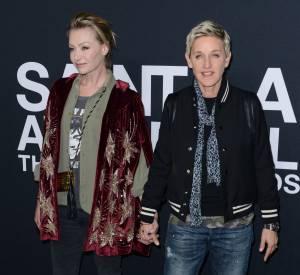 Ellen DeGeneres et Portia De Rossi au défilé Saint Laurent Paris Automne-Hiver 2016/2017, à Los Angeles.