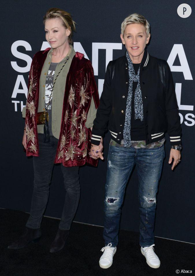 Ellen DeGeneres et Portia De Rossi au défilé Saint Laurent ...