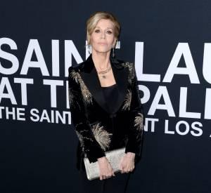 Jane Fonda au défilé Saint Laurent Paris Automne-Hiver 2016/2017, à Los Angeles.