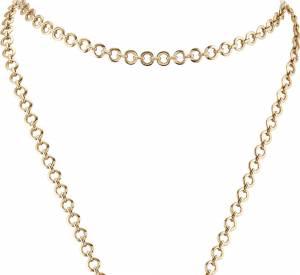"""Sautoir """"Bouton d'or"""" en or jaune, chrysoprase, onyx et diamants de Van Cleef & Arpels."""