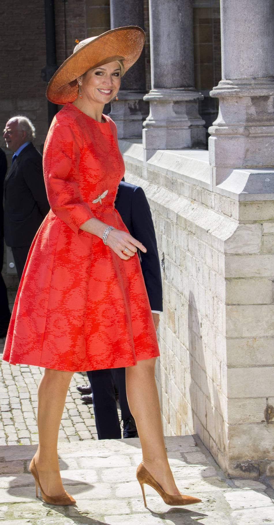 Maxima des Pays-Bas a opté pour une robe orangée.