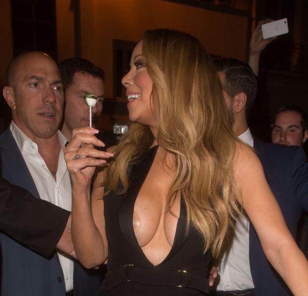 Mariah Carey a été victime d'un accident téton en se rendant au VIP Room, à Paris, après son concert à l'Accor Hotel Arena, ce jeudi 21 avril 2016.