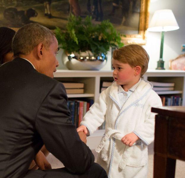 Le prince George a échangé quelques mots avec le président Obama.
