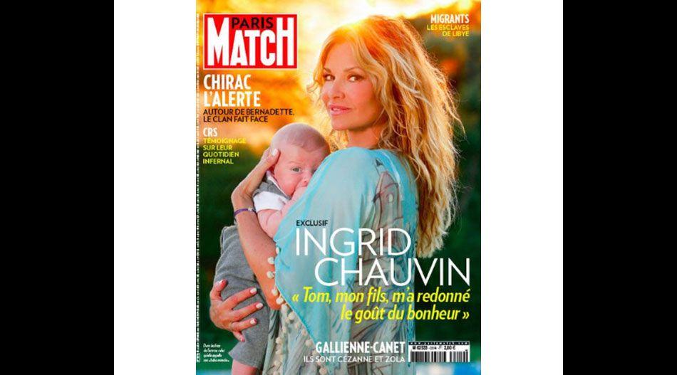 Ingrid Chauvin pose avec son fils Tom en couverture de  Paris Match .